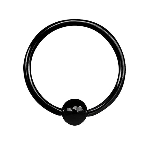 Fifth Cue 14G Black Titanium IP Over 316L Surgical Steel Captive Bead Ring