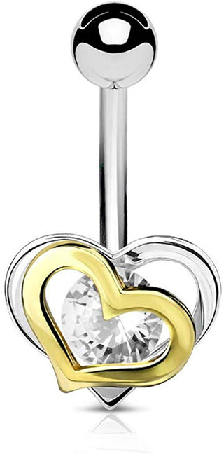 Fifth Cue 14G Gold and Steel Two-Tone Double Heart with CZ 316L Surgical Steel Belly Button Navel Rings