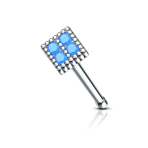 Fifth Cue 20G Blue Turquoise Set 316L Surgical Steel Square Top Nose Bone Stud Ring