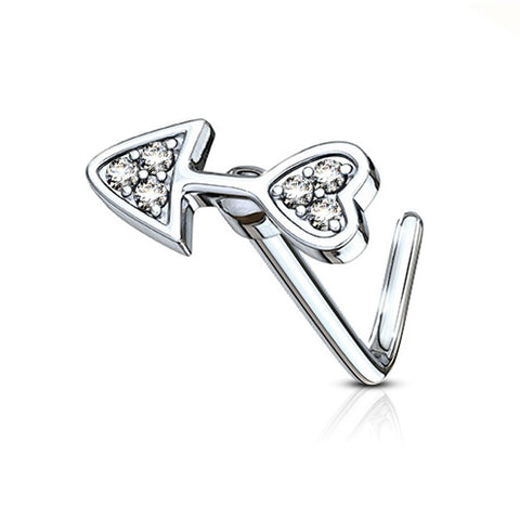Fifth Cue 20G CZ Paved Arrow Heart Top 316L Surgical Steel L Bend Stud Nose Ring