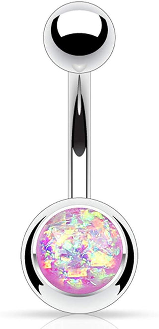 Fifth Cue 14G Synthetic Opal Glitter Set 316L Surgical Steel Belly Button Ring (Purple)