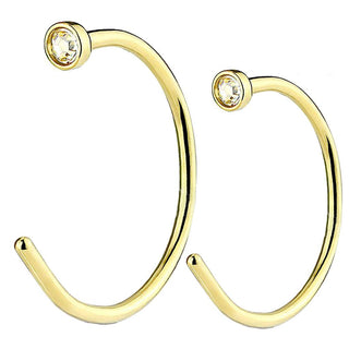 Fifth Cue 20G Clear CZ Top Gold Flat Disc Nose Hoop 316L Surgical Steel Ring - 8mm & 10mm -Both Sizes