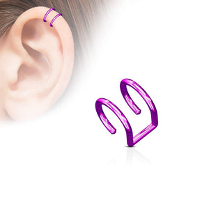 Fifth Cue 18G Double Closure Ring Titanium IP Over 316L Surgical Steel Fake Non-Piercing Cartilage Clip On