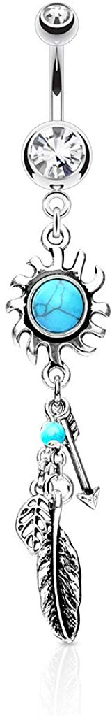 Turquoise Centered Tribal Sun w/Feather & Arrows Dangle Double Jeweled 316L Surgical Steel Navel Belly Ring (Clear)