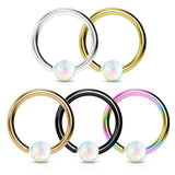 20G 5pc Created Opal Ball 316L Surgical Steel Fixed Hoop Nose Ring Value Pack