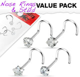 Fifth Cue 4pc Clear Prong Set CZ Gem 316L Surgical Steel Nose Screw Value Pack