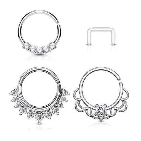 16G 3pc Asstd. Half Circle CZ 316L Steel Bendable Nose, Ear, Septum Hoop Value Pack w/Free Retainer - FIFTHCUE.COM