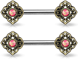 Fifth Cue 14G Opal Glitter Centered Tribal Flower Ends 316L Surgical Steel Nipple Barbell Ring