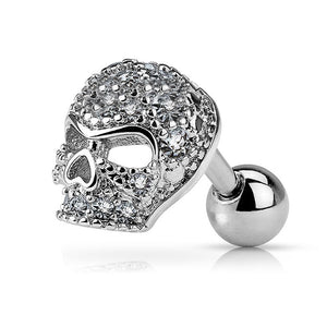Fifth Cue 16G Micro CZ Paved Skull 316L Surgical Steel Cartilage Tragus Labret Barbell Stud