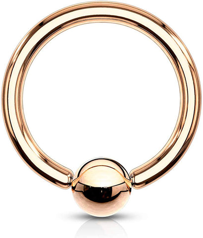 Fifth Cue Rose Gold IP Over 316L Surgical Steel Basic Captive Bead Ring