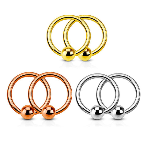 3 Pairs Annealed 316L Stainless Steel IP Gold/Rose Gold Captive Bead Rings Value Pack - FIFTHCUE.COM