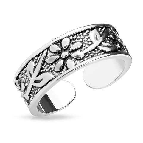 Fifth Cue Antique Silver/Flowers Adjustable Rhodium Plated Brass Finger Mid-Ring or Toe Ring