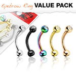 16G 5pc Press Fit Gemmed Balls Titanium IP Over 316L Steel Curved Barbell Eyebrow Ring Value Pack - FIFTHCUE.COM