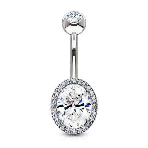 Fifth Cue 14G CZ Around Oval Prong Set CZ Center Double Tier 316L Surgical Steel Naval Belly Button Ring