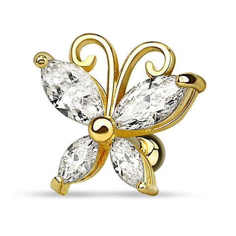 Fifth Cue 16G Marquise Cut CZ Butterfly 14Kt. Gold Plated l 316L Surgical Steel Cartilage Tragus Basic Barbell Stud