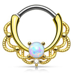 Fifth Cue Lacey Single Opal Set 14Kt. Gold Plated Round Bar Septum Clicker Ring 316L Surgical Steel
