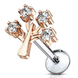 16G CZ Set Life Tree Top 316L Surgical Steel Internally Threaded Labret, Monroe Cartilage Stud - FIFTHCUE.COM