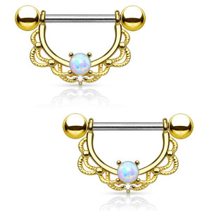 Opal Centered Filigree Drop 316L Surgical Steel Nipple Barbell Ring (14G | Gold)