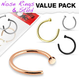 4pc Nose Hoop 316L Surgical Steel Ring Value Pack