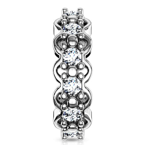 Lined CZ Center w/Filigree Edges 316L Surgical Steel Nose & Ear, Cartilage Hoop Ring