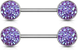 Fifth Cue 14G Druzy Stone Set Ends 316L Surgical Steel Nipple Barbell Ring (Purple)