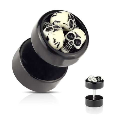 Three Embedded Skulls Black Acrylic Fake Plug