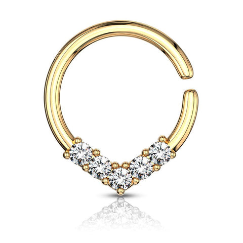 Fifth Cue 16G 5 CZ Set V Shaped on Round Bendable Cut Ring for Nose Septum, Daith & Ear Cartilage