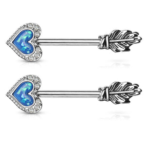14G Synthetic Opal Glitter Heart CZ Paved Outline Feather End Arrow 316L Surgical Steel Nipple Barbell Ring
