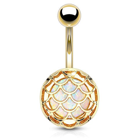 14G Synthetic Opal Glitter Incased Casted Fish Scale 316L Surgical Steel Naval Belly Button Ring