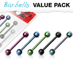 14G 5pc Titanium IP Over 316L Stainless Steel Barbells Value Pack