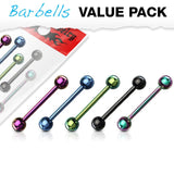 14G 5pc Titanium IP Over 316L Stainless Steel Barbells Value Pack - FIFTHCUE.COM