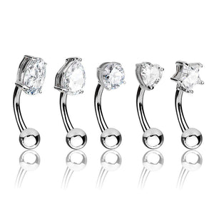 16G 5pc Basic Shapes CZ Prong Set Top 316L Surgical Steel Curved Barbell/Eyebrow Ring Value Pack