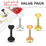 16G 4pc Heart Top Internally Threaded 316L Surgical Steel Labret/Monroe, Cartilage Stud Value Pack - FIFTHCUE.COM
