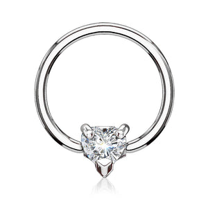 Multi Directional CZ Heart 316L Surgical Steel Captive Bead Ring -Pliers Required for Closure