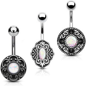 Fifth Cue 14G 3pc Opal Glitter Centered Vintage Style 316L Surgical Steel Naval Belly Button Ring Value Set