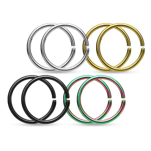 Fifth Cue 4 Pairs 316L Surgical Steel Hoop Cut Rings Value Pack