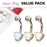 Fifth Cue 14G 3pc Heart CZ Prong Set 14Kt. Gold Plated 316L Surgical Steel Naval Belly Button Ring Value Set