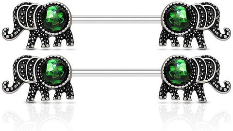 Fifth Cue 14G Elephant w/Synthetic Opal Glitter Set 316L Surgical Steel Barbell Nipple Ring