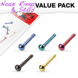 5pc Assorted Dome Ball Top Titanium IP Over 316L Surgical Steel Nose Bone Stud Value Pack - FIFTHCUE.COM