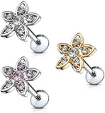 Fifth Cue 16G CZ Set Flower Top 316L Surgical Steel Internally Threaded Labret Monroe Cartilage Stud