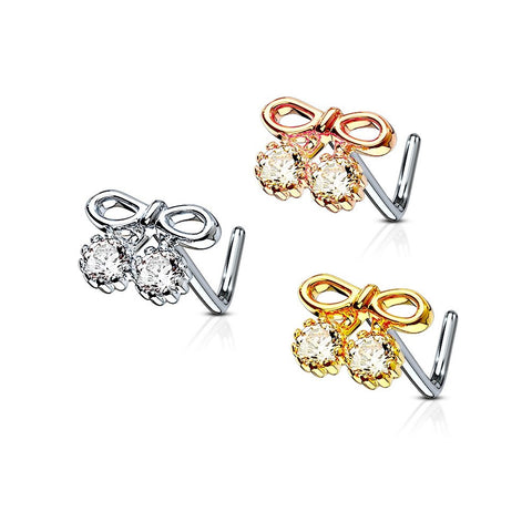 CZ Set Ribbon 316L Surgical Steel L Bend Nose Stud Rings - FIFTHCUE.COM