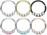Fifth Cue 16G 5 CZ Prong Set 316L Surgical Steel Bendable Nose & Ear Septum Cartilage Hoop Ring