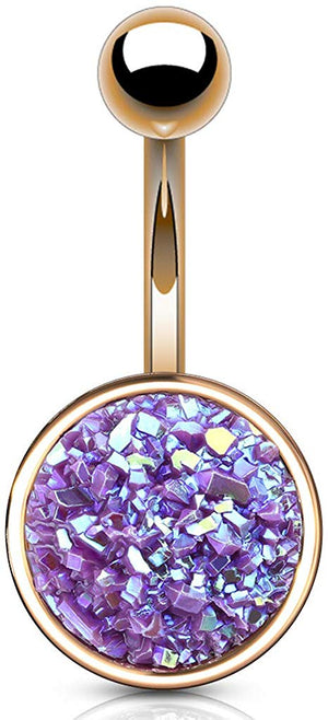 Fifth Cue 14G Druzy Stone Round Set PVD Rose Gold Over 316L Surgical Steel Naval Belly Button Ring (Purple)