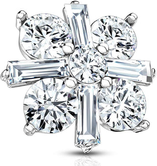 Fifth Cue 14G Princess Cut CZ Crossed CZ Square 316L Surgical Steel Internally Threaded Dermal Anchor Top (Steel/Clear)