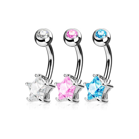 Fifth Cue 14G 3pc Star CZ Prong Set 316L Surgical Steel Naval Belly Button Ring Value Set