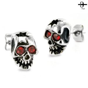Fifth Cue Pair of 316L Surgical Surgical Cracked Skull Red Cubic Zirconia Eyes Stud Earring