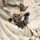 Fifth Cue 14G 3 Spiders On Black IP Spider Web Dangle 316L Surgical Steel Nipple Barbell Ring