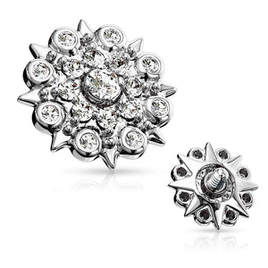 14G CZ Paved Floral Filigree 316L Surgical Steel Internally Threaded Dermal Top