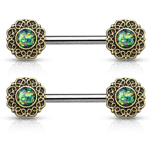 14G Glitter Centered Tribal Heart Filigree Ends 316L Steel Nipple Barbell Rings -Sold AS Pair - FIFTHCUE.COM