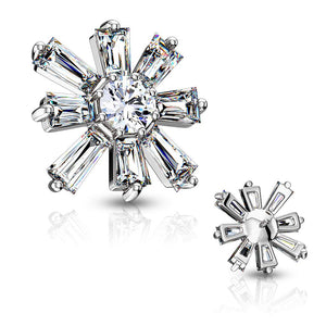 Fifth Cue 14G Round CZ Centered Princess Cut CZ Square 316L Surgical Steel Internally Threaded Dermal Top